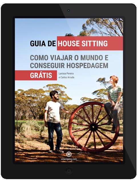 capa guia de house sitting ebook livro digital vida cigana brasil viajar o mundo e conseguir hospedagem de graça