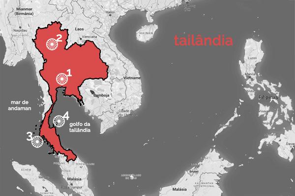 roteiro tailãndia - divisão por regiões