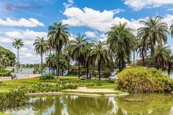 Os jardins do Museu de Arte da Pampulha, em Belo Horizonte, com suas lindas palmeiras imperiais, seu céi azul e muito verde, além do laguinho.
