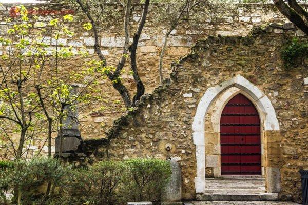 Ruínas do castelo de são jorge em lisboa com duas portas, uma vermelha em estilo medieval ao fundo. Árvores estão juntas crescendo em meio as ruínas.