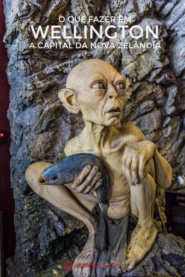 O que fazer em Wellington: Uma estátua de Gollum usado nos filmes O Senhor dos Aneis. A estátua está na Weta Cave, estúdios de efeitos visuais de O Senhor dos Aneis, em Wellington, na Nova Zelândia