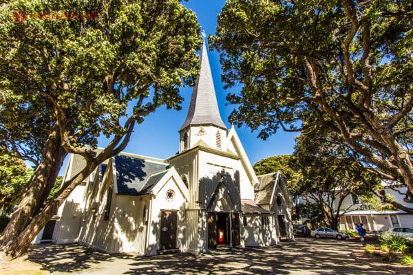 O que fazer em Wellington: A Old Saint Paul é a igreja mais antiga do país, feita totalmente em madeira, ela fica numa praça bem arborizada. Super disputada para eventos.