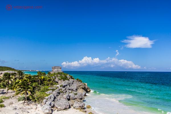 As ruínas de Tulum, no México: As ruínas e o Mar do Caribe