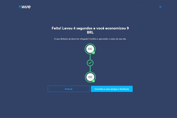 tela exibindo a conclusão de uma transferência pelo TransferWise que durou quatro segundos