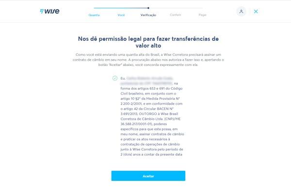 Termo com permissão para o TransferWise fazer operações de câmbio em nome do usuário