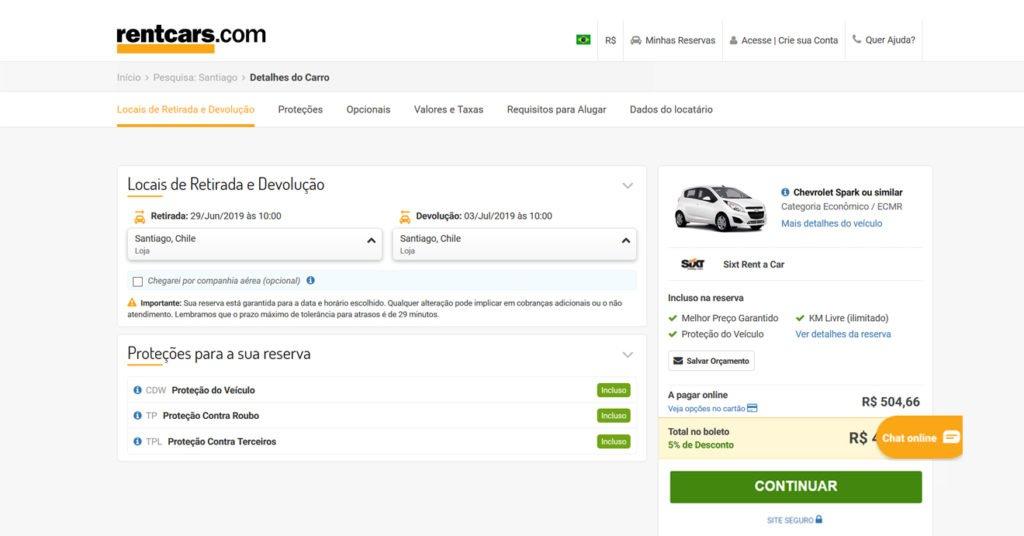 pesquisa para aluguel de veículo na rentcars exibindo a possibilidade de retirar o carro em uma das lojas de Santiago