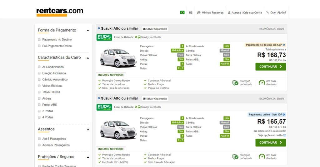 comparativo de preços da rentcars entre opções com pagamento online ou no destino.