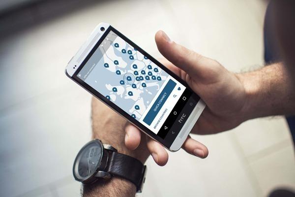 um celular mostrando como funciona a nordvpn, com um mapa da europa e os país que podem ser acessados