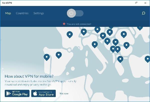a página da nordvpn no computador, com o mapa da europa e os pontos de acesso no continente europeu