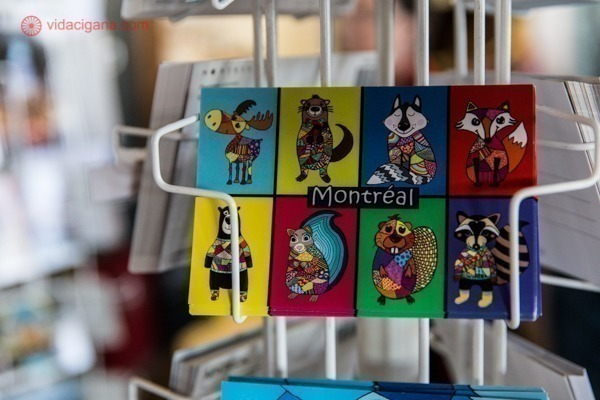 Um cartão postal com os animais de montreal
