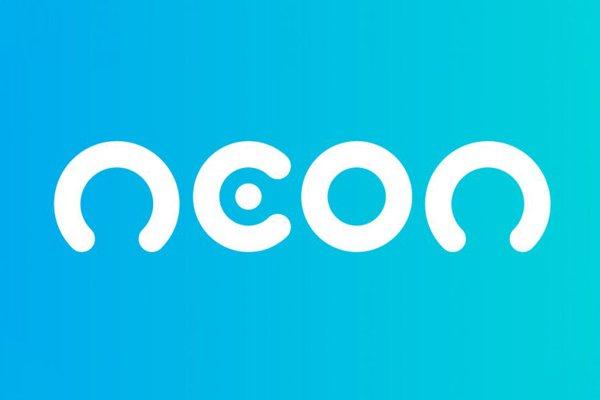 O logo do banco Neon em azul e branco