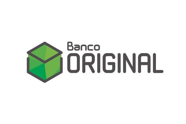 O logo do banco Original em preto e verde no fundo branco