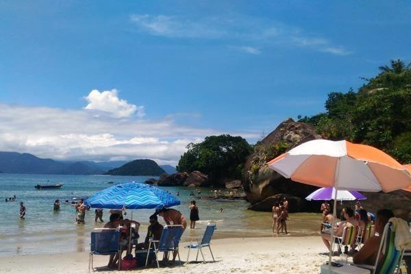 A Praia das Toninhas com guarda sois, céu azul e mar verde
