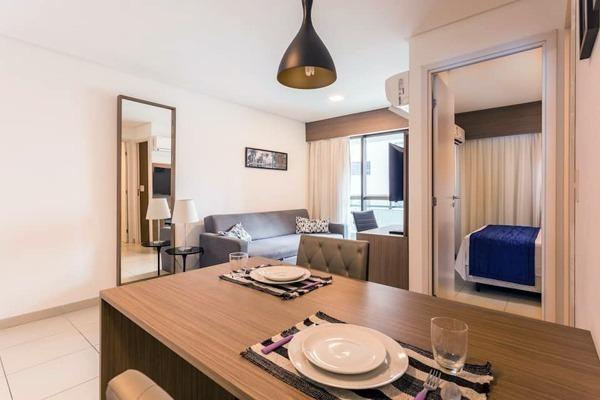 Airbnb no Recife com tudo que é preciso, cozinha, quarto e sala, varanda e piscina