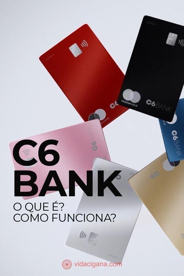 O Banco C6 oferece conta corrente, Cartão de crédito e débito, Cartão C6 Carbon, Programa de Pontos Átomos, Conta Global (Conta Internacional), Conta MEI, Conta PJ