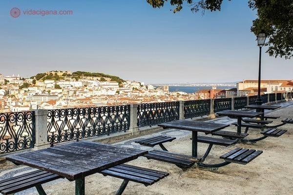 Mesas de madeira numa praça com uma vista de Lisboa, com o Castelo no alto e um pedaço do Rio Tejo ao lado