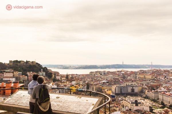 Um casal na frente do painel do Miradouro da Senhora do Monte vendo a cidade lá embaixo