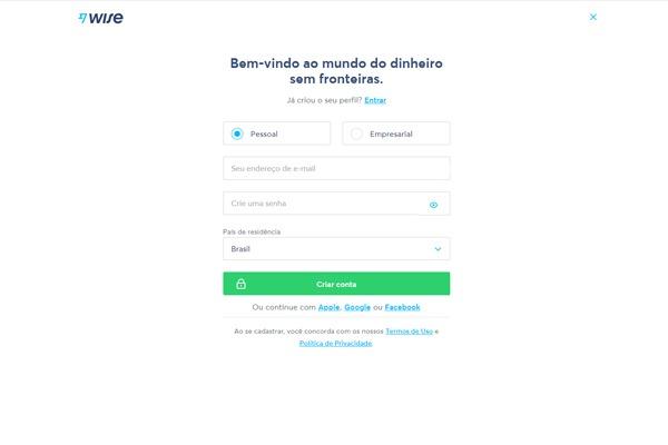 tela de cadastro da TransferWise com as informações básicas exigidas