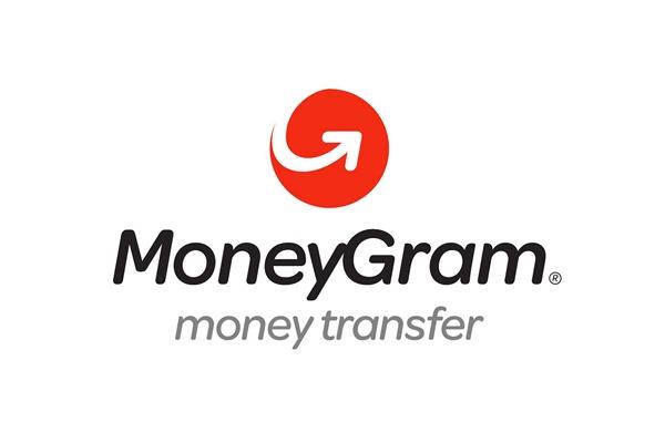 O logo do MoneyGram branco com letras pretas e cinzas e um ícone vermelho