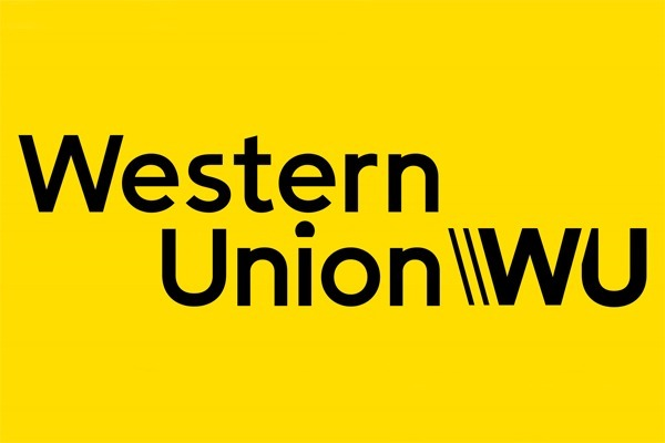 O logo da Western Union amarelo com as letras pretas