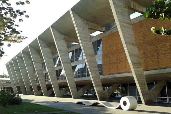 A fachada moderna do MAM, o Museu de Arte Moderna. Um dos melhores museus do Rio de Janeiro