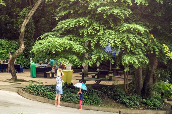Pessoas passeando por entre as árvores do Parque Estadual da Chacrinha