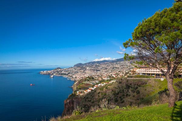 A cidade de Funchal, capital da Ilha da Madeira, com várias casas na encosta com vista para o mar