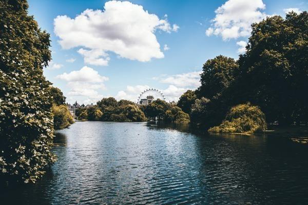 O lago do St James's Park, com a London Eye lá ao fundo.